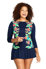 Women's Plus Size Swim Cover-up Boatneck Swim Tee Rash Guard Print