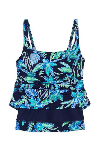 Women's Plus Size Tummy Control Square Neck Underwire Tankini Top Swimsuit Adjustable Straps Print