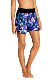 "Women's Petite Comfort Waist 5"" Swim Shorts with Panty Print"