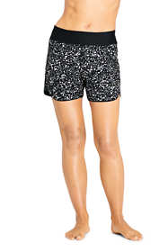 "Women's Petite 5"" Quick Dry Elastic Waist Swim Shorts with Panty Print"