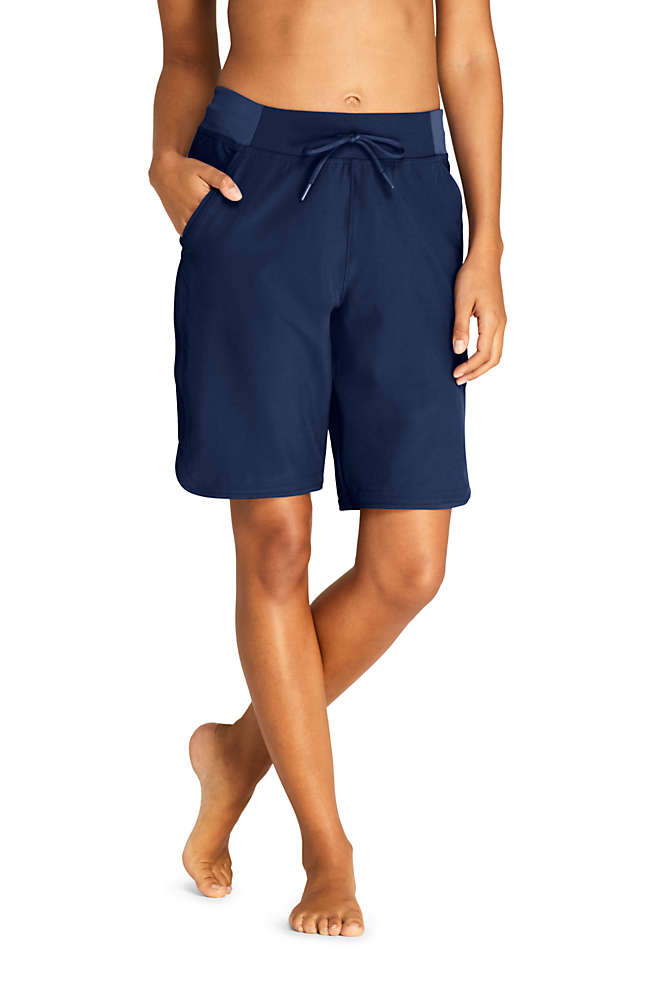 "Women's Comfort Waist 9"" Swim Shorts with Panty, Front"