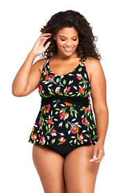 Women's Plus Size Drape Front Tankini Top Swimsuit Print