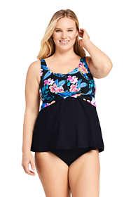 Women's Plus Size Drape Front Tankini Top Swimsuit Print