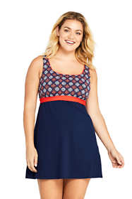 Women's Plus Size Square Neck Underwire Dresskini Tunic Top Swimsuit Print