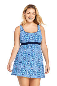 Women's Plus Size DD-Cup Square Neck Underwire Dresskini Tunic Top Swimsuit Print
