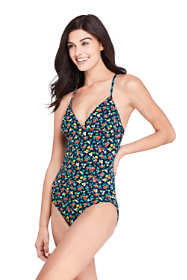 Women's Long V-neck One Piece Swimsuit Print