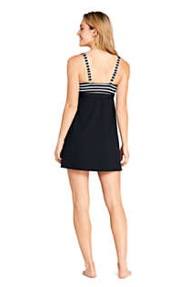 Women's Square Neck Underwire Dresskini Tunic Top Swimsuit Print, Back