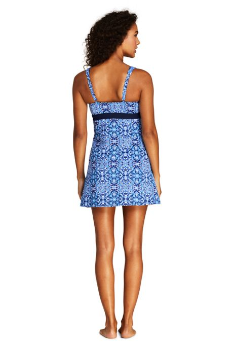 Women's Petite Square Neck Underwire Dresskini Tunic Top Swimsuit Print