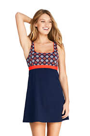 Women's Square Neck Underwire Dresskini Tunic Top Swimsuit Print