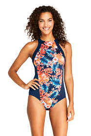 Women's Chlorine Resistant High-neck Athletic One Piece Swimsuit Print