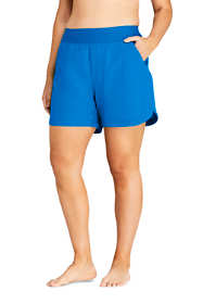 "Women's Plus Size 5"" Quick Dry Elastic Waist Swim Shorts with Panty"