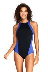 Women's Chlorine Resistant High-neck Athletic One Piece Swimsuit