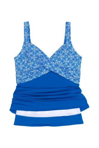 Women's Wrap Underwire Tankini Top Swimsuit with Tummy Control Print