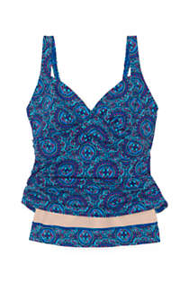 Women's Plus Size Wrap Underwire Tankini Top Swimsuit with Tummy Control Print, Unknown