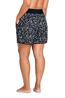"Women's Plus Size 5"" Quick Dry Elastic Waist Board Shorts Swim Cover-up Shorts with Panty Print, Back"