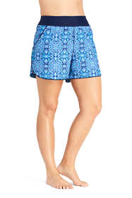 "Women's Plus Size Comfort Waist 5"" Swim Shorts with Panty Print"