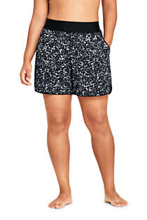 "Women's Plus Size 5"" Quick Dry Elastic Waist Board Shorts Swim Cover-up Shorts with Panty Print, Front"