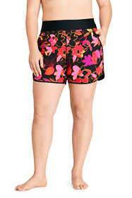 "Women's Plus Size 5"" Quick Dry Elastic Waist Board Shorts Swim Cover-up Shorts with Panty Print"