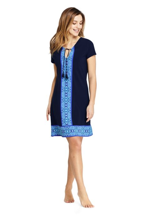 Women's Petite Swim Cover-up Notch Neck Dress with UV Protection Print