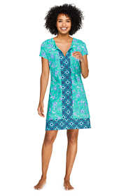 Women's Long Swim Cover-up Notch Neck Dress with UV Protection Print