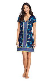 Women's Petite V-Neck Short Sleeve with UV Protection Swim Cover-up Dress Print