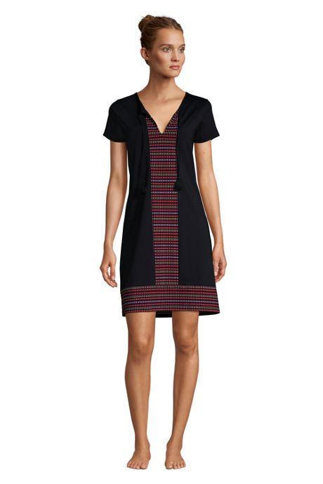 Women's V-Neck Short Sleeve with UV Protection Swim Cover-up Dress Print