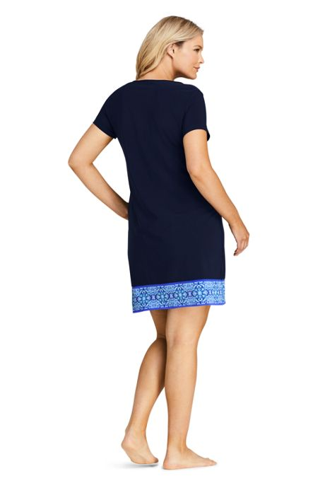 Women's Plus Size Swim Cover-up Notch Neck Dress with UV Protection Print