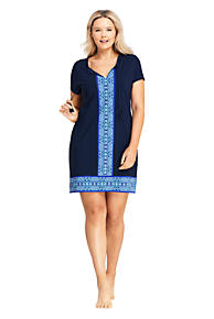 0f3e396c59f6d Women s Plus Size Swim Cover-up Notch Neck Dress with UV Protection Print