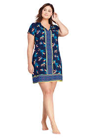 Women's Plus Size V-Neck Short Sleeve with UV Protection Swim Cover-up Dress Print