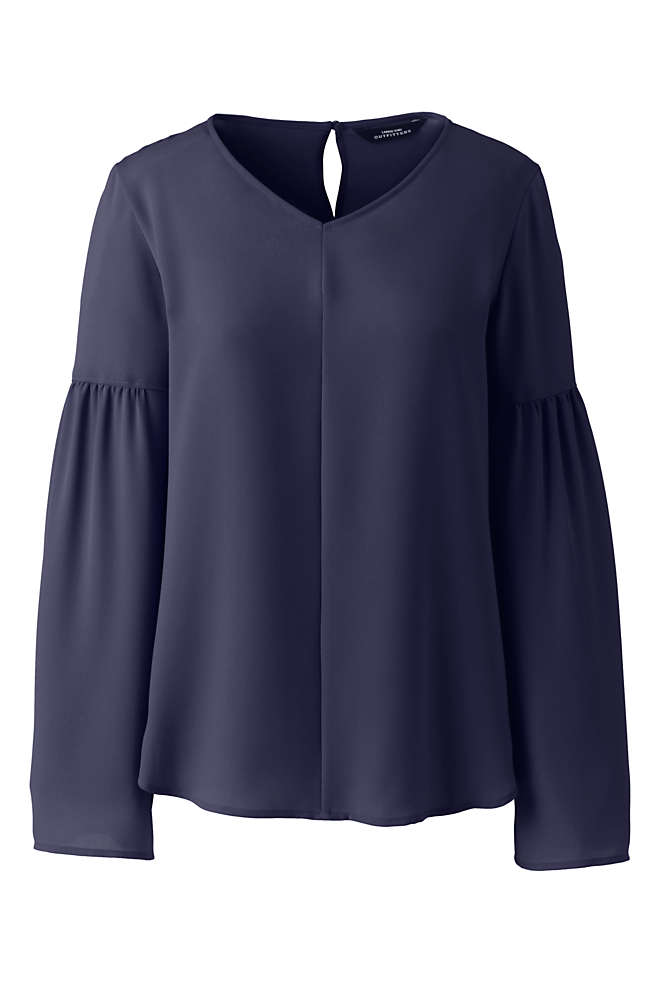 Women's V-neck Flare Sleeve Crepe Blouse, Front