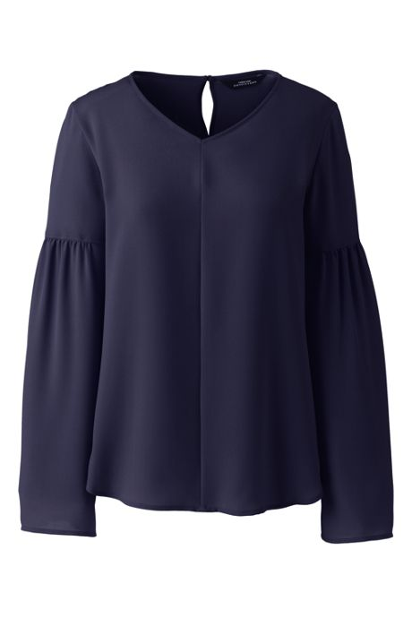 Women's V-neck Flare Sleeve Crepe Blouse