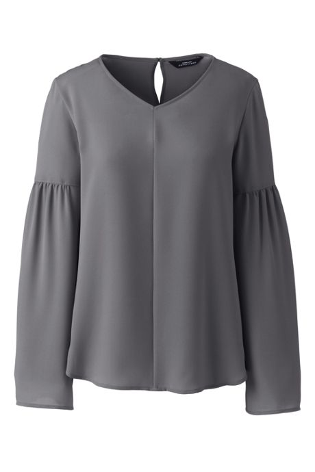 Women's Plus Size V-neck Flare Sleeve Crepe Blouse