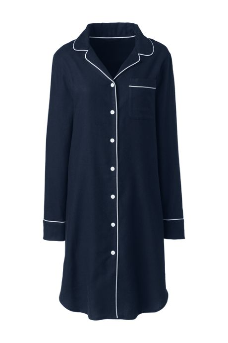 Women's Long Sleeve Flannel Pajama Nightshirt