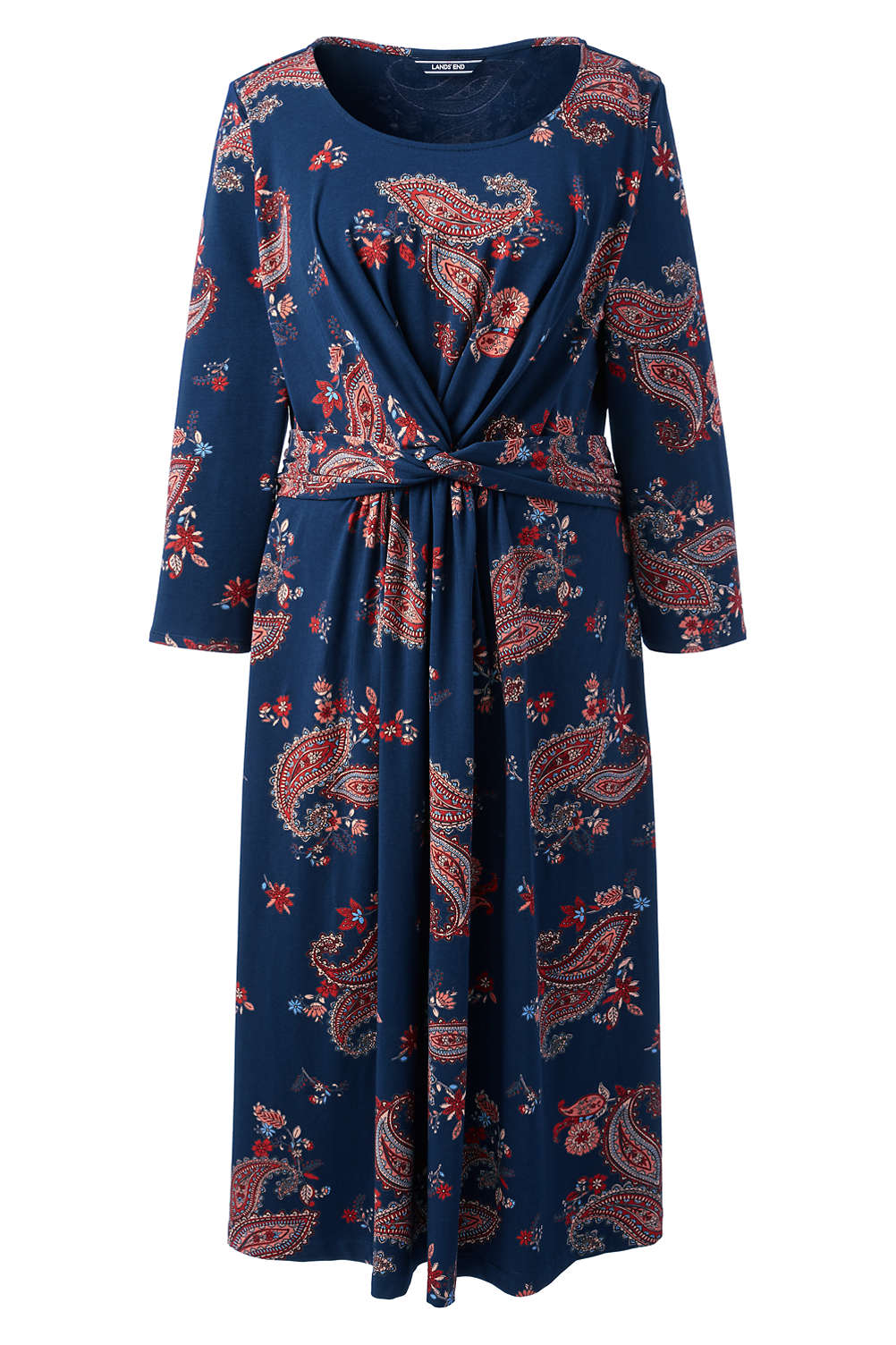 86fb3e1d0e Women s Plus Size 3 4 Sleeve Print Draped Fit and Flare Dress from ...