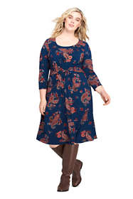 Women's Plus Size 3/4 Sleeve Print Draped Fit and Flare Dress