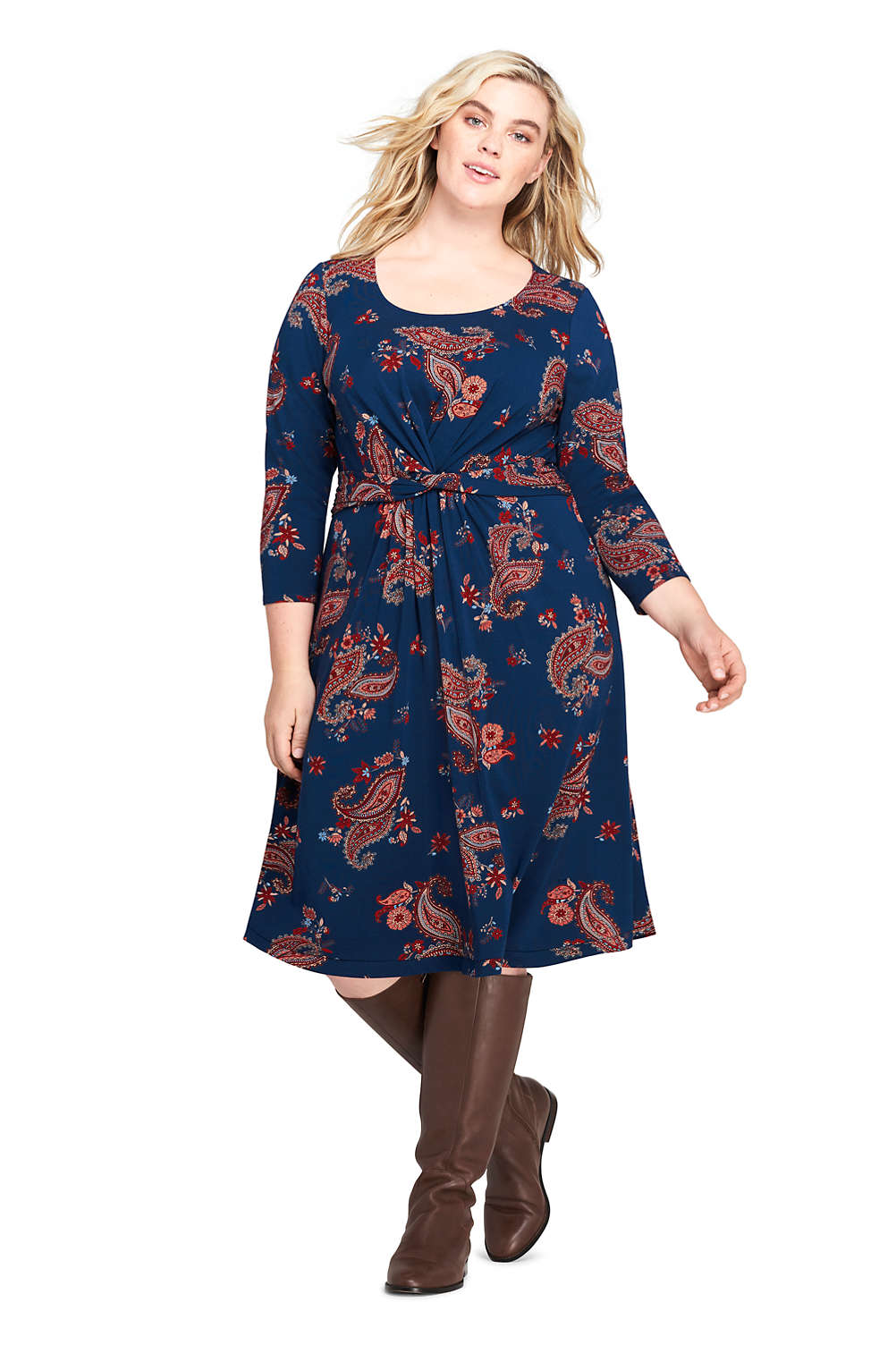 Women\'s Plus Size 3/4 Sleeve Print Draped Fit and Flare Dress