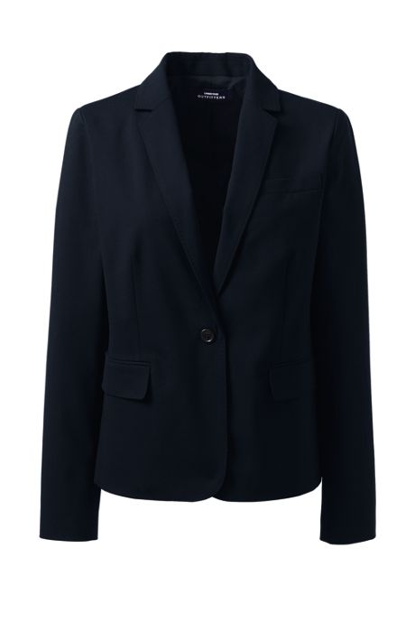 Women's Petite Washable Wool Modern 1 Button Blazer