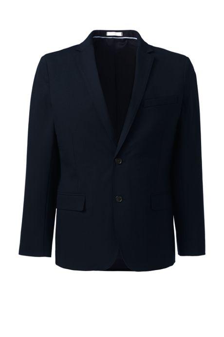 Men's Washable Wool Two Button Slim Fit Suit Jacket