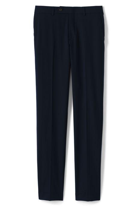 Men's Washable Wool Plain Front Slim Fit Suit Pants