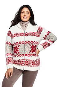 Women's Plus Size Zip Christmas Sweater
