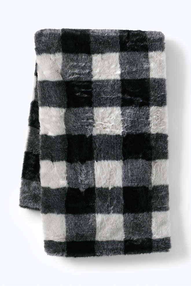 Buff Check Faux Fur Throw Blanket, Front