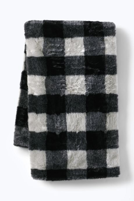 Buff Check Faux Fur Throw Blanket