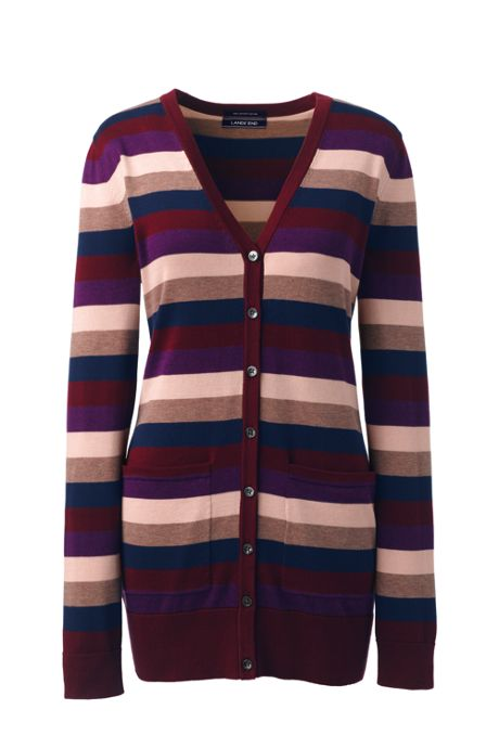 Women's Plus Size Long Cardigan Sweater Stripe Supima Cotton