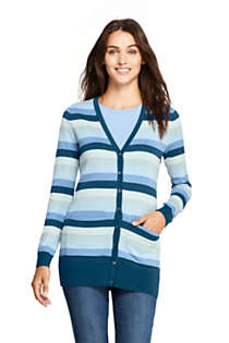 Women's Long Cardigan Sweater Stripe Supima Cotton, Front