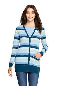 Women's Petite Long Cardigan Sweater Stripe Supima Cotton