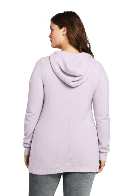 Women's Plus Size Boucle Hooded Tunic Sweater