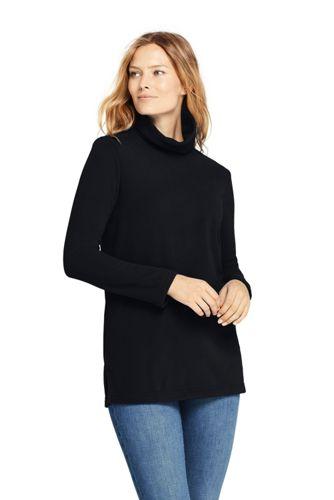 Women's Petite Roll Neck Fleece Tunic Top