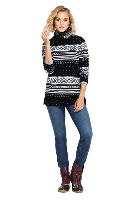 Women's Print Fleece Turtleneck Tunic Top