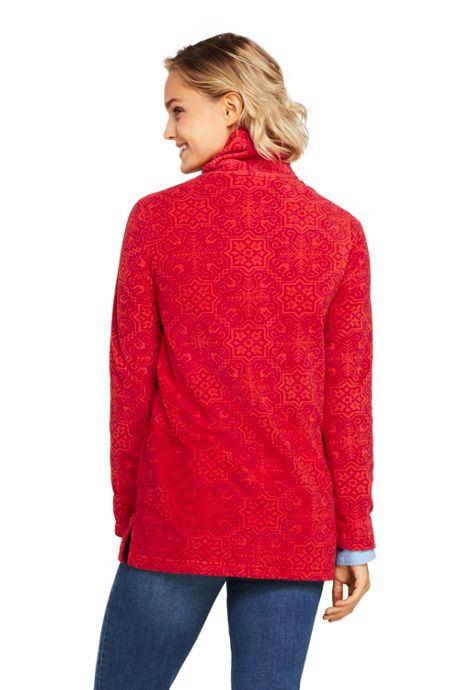 Women's Print Tunic Fleece Turtleneck