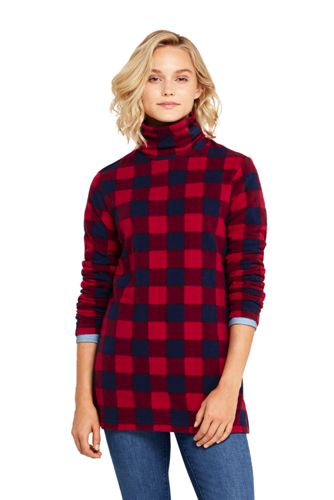 Women's Patterned Roll Neck Fleece Tunic Top
